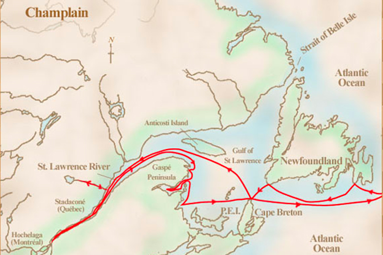 This image shows the area Champlain explored called New France on his first voyage.