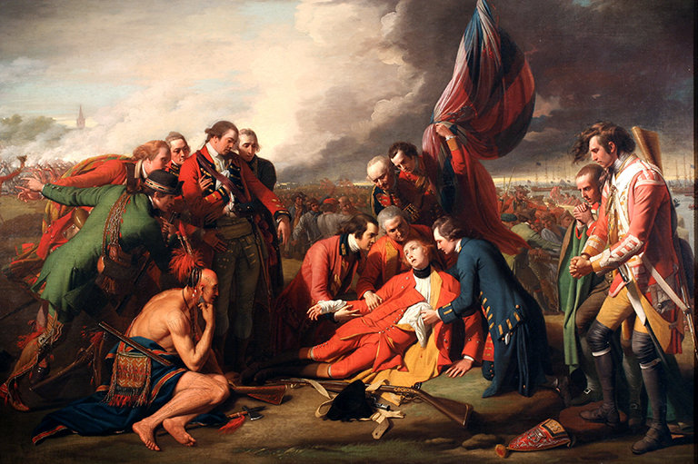 This image shows a painting of The Death of General Wolfe, painted by  Benjamin West in 1770.