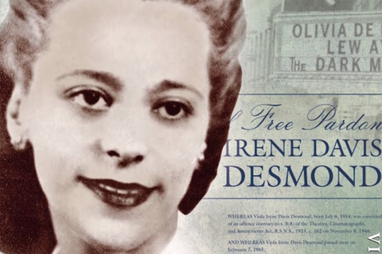 Composite of Viola Desmond, movie ticket and pardon request