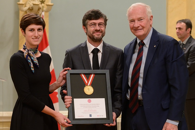 The Écomusée du fier monde accepting their award at Rideau Hall, 2013.