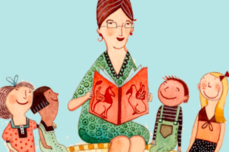This is a cartoon image of a teacher reading a book to children.