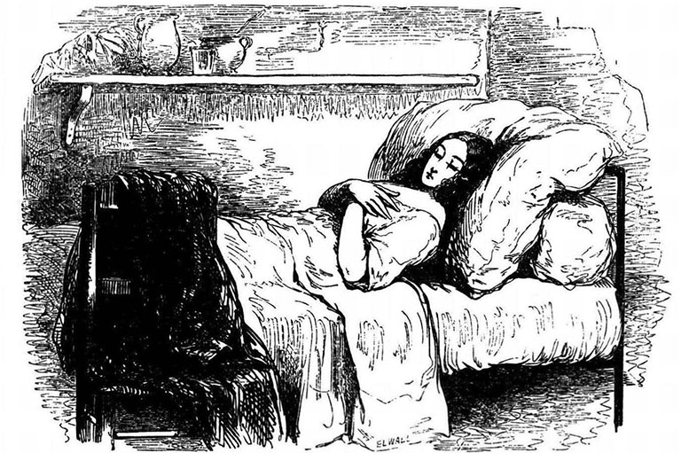 Line drawing of a women asleep on a bed