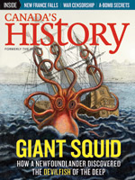 Canada's History cover of August-September 2015 issue featuring a Giant Squid