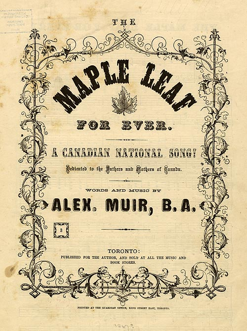 "Sheet music for ""Maple Leaf for ever"" [sic]"