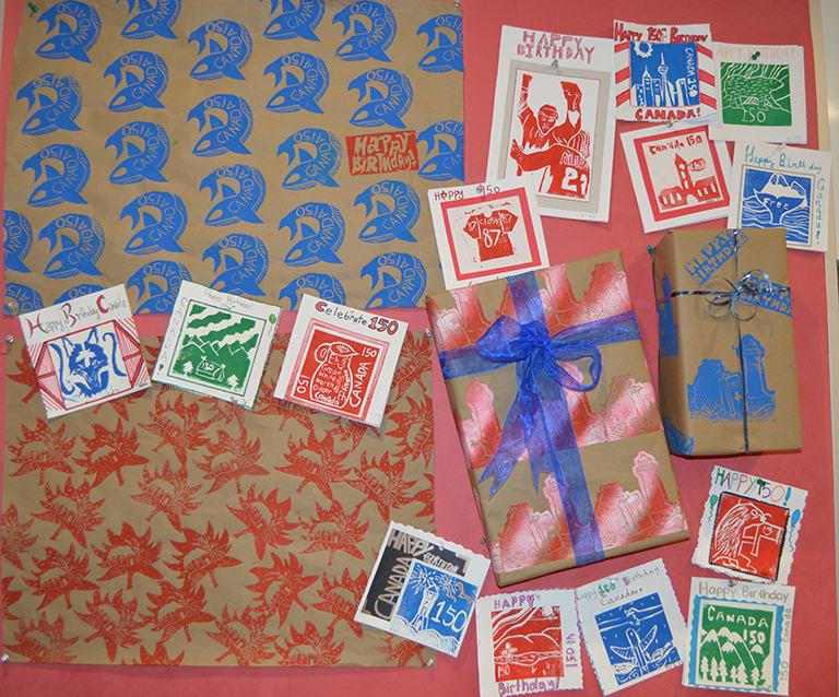 Image shows hand made wrapping paper and cards.