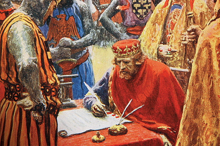 Colour painting depicting King John signing the Magna Carta.