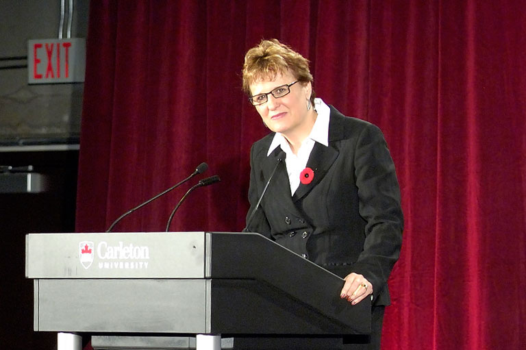 Penney Clark presenting at the first Canada's History Forum in 2007.
