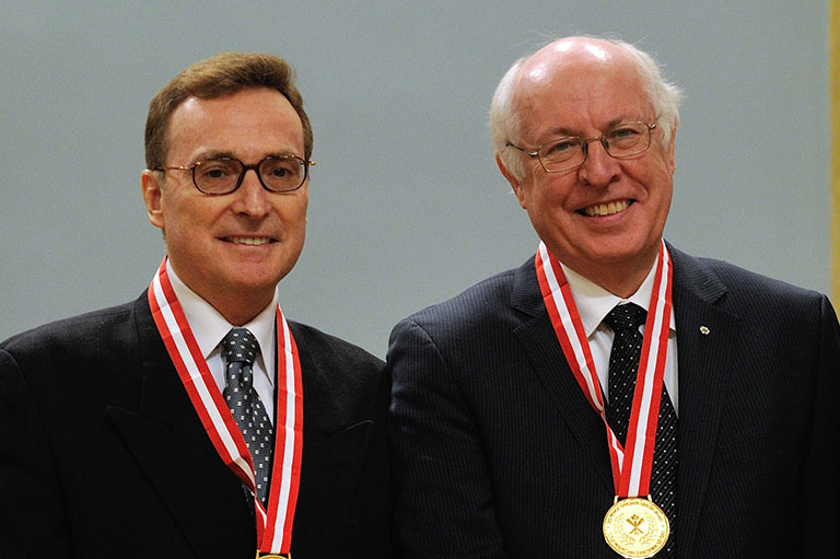 Réal Bélanger and John English, recipients of the 2012 Governor General's History Award for Popular Media