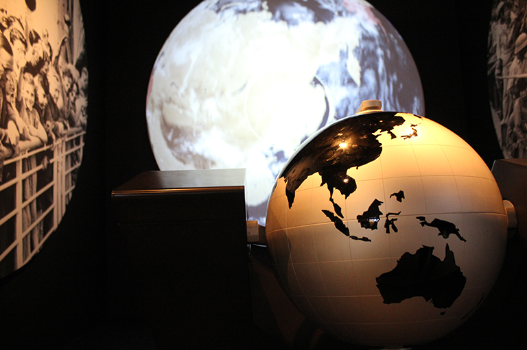 This image shows an interactive globe at the Canadian Museum for Human Rights.