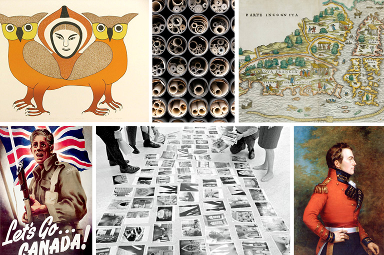 This images shows a variety of visual primary sources.
