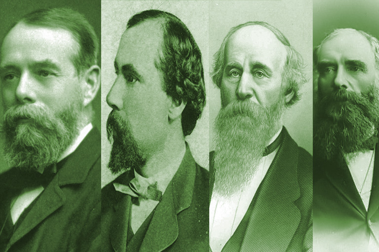 Composite made of portraits of George Stephen, James J. Hill, Norman Kittson, and Lord Strathcona (missing John Stewart Kennedy).