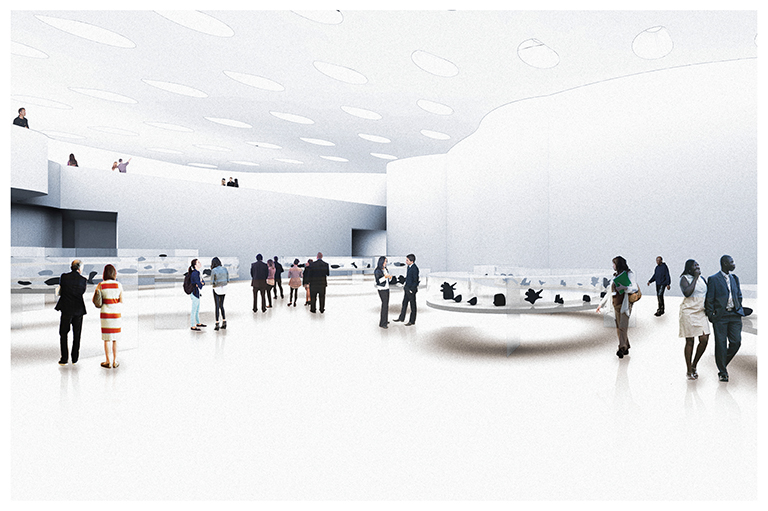 This image shows a digital rendering of Gallery 1 at the Inuit Art Centre.
