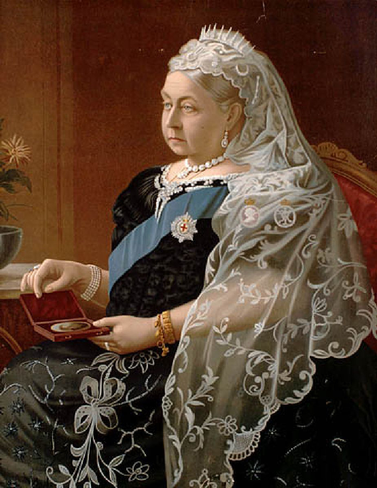 This image shows a painting of Queen Victoria