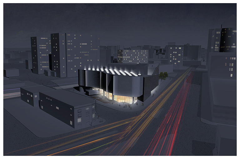 This image shows a digital rendering of the Inuit Art Centre at night.