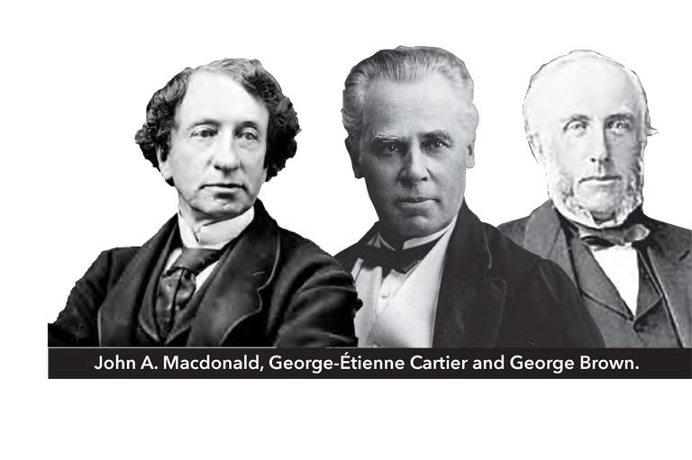 Composite of Sir John A. Macdonald, George-Étienne Cartier and George Brown.