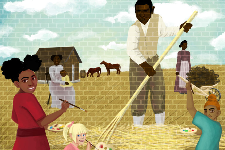 Colour illustration of mural showing black pioneers working the land.
