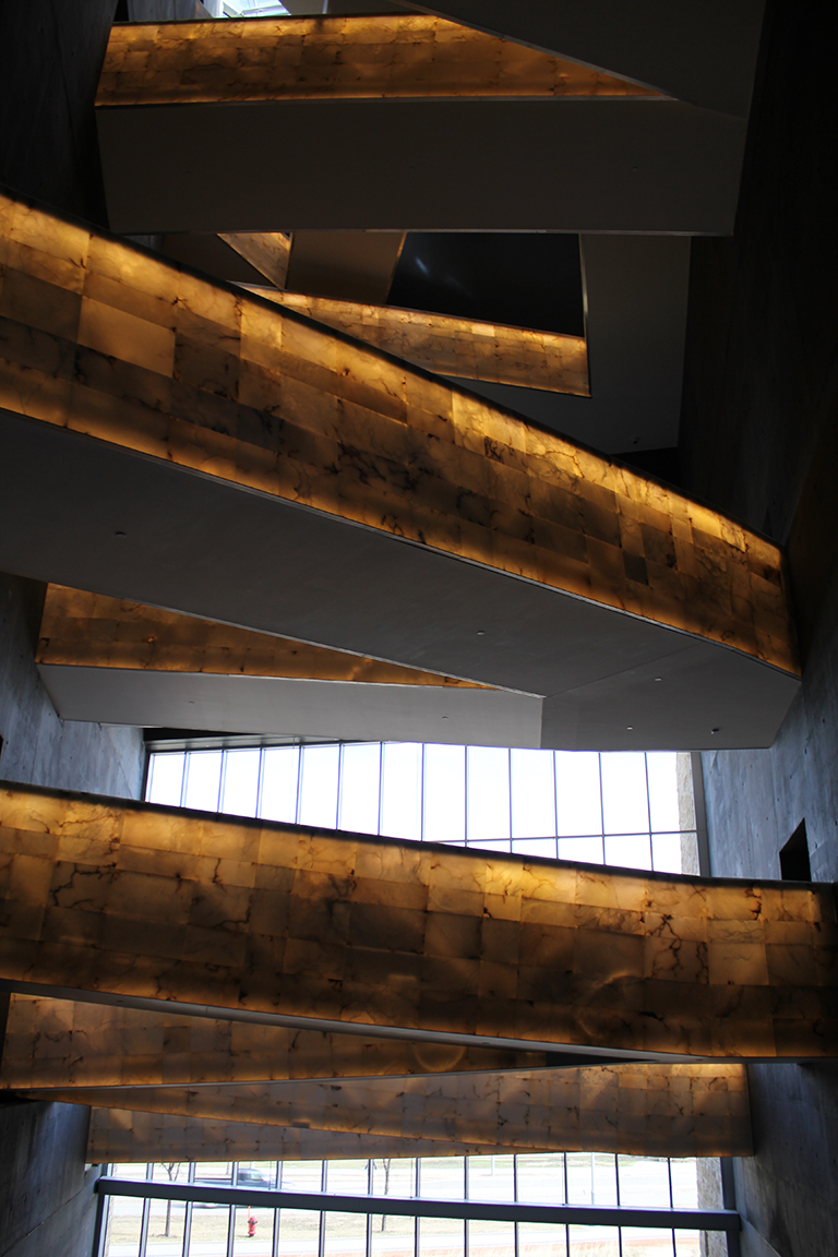 This image shows glowing white alabaster ramps in the Canadian Museum for Human Rights.