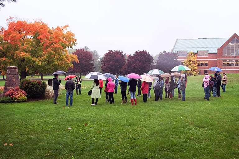 Historic Site tour on the front lawn of Algoma University.