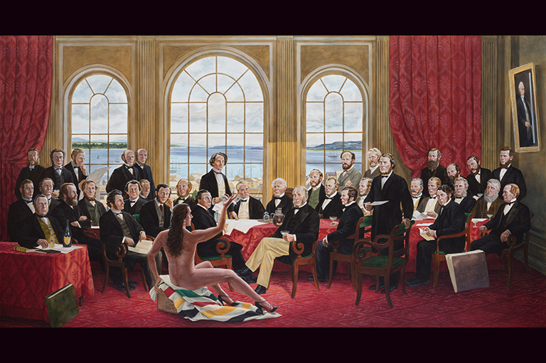 This image shows a painting by Kent Monkman called The Daddies.