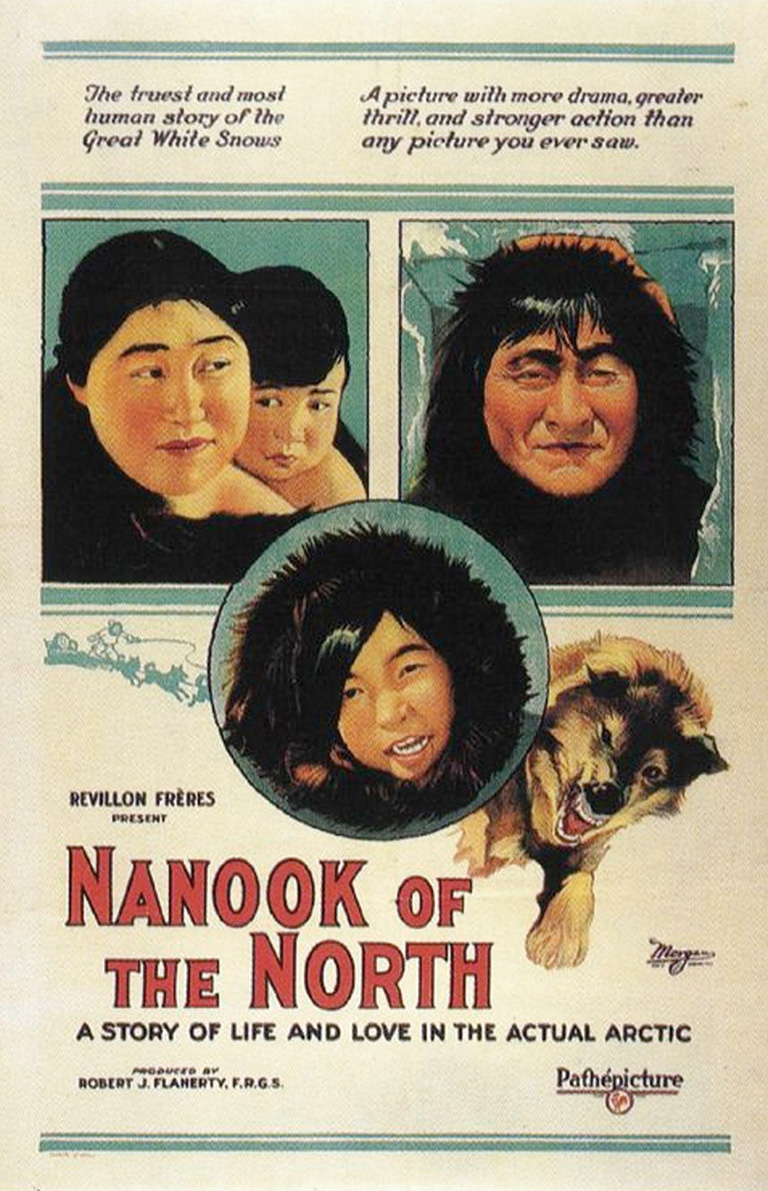 "This image shows a movie poster with images of a young innuk and a dog with the words ""Nanook of the North"" in red block letters."