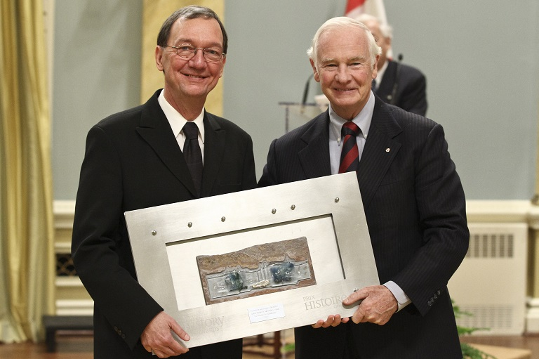 Richard Pelletier accepting the award on behalf of the Société d'histoire de Saint-Basile-le-Grand at Rideau Hall, 2011.