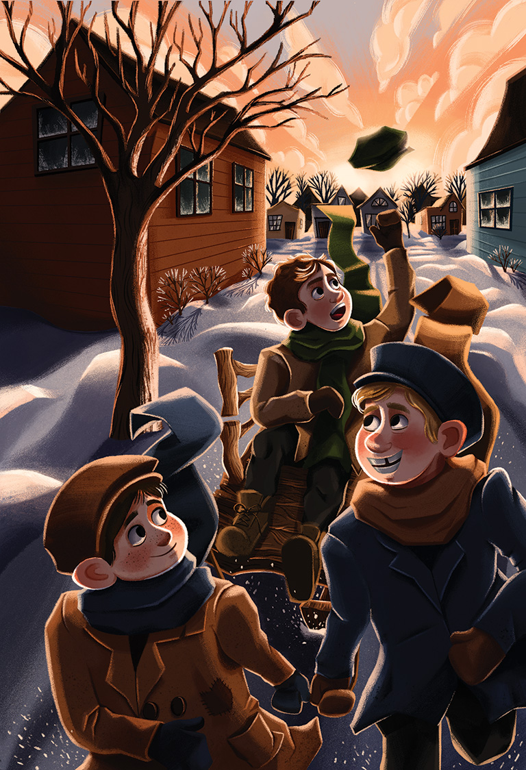 Illustration of two boys pulling a third boy on a sled.