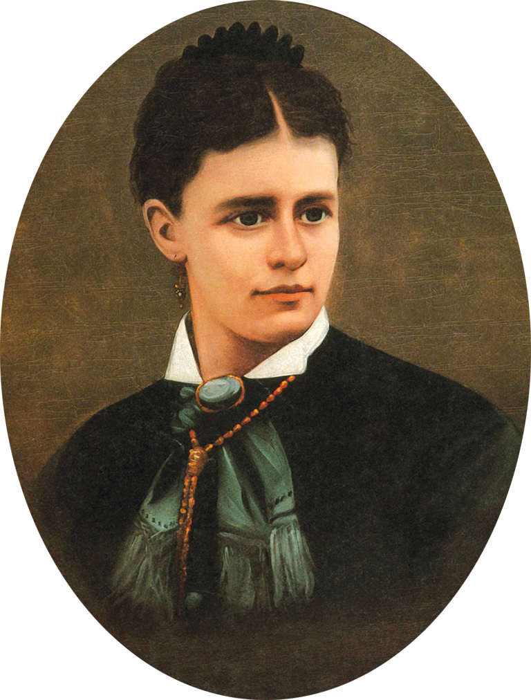 Paint of a woman with her hair in an updo.