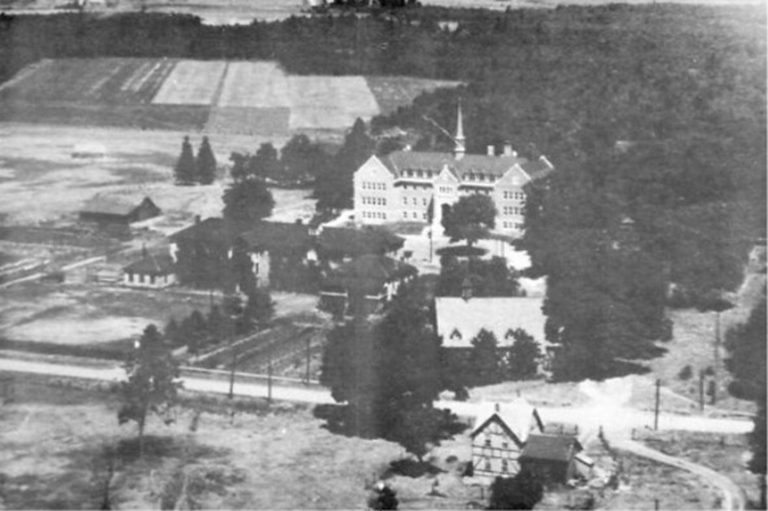 Aerial view of the New and Old Shingwauk Homes, 1935.