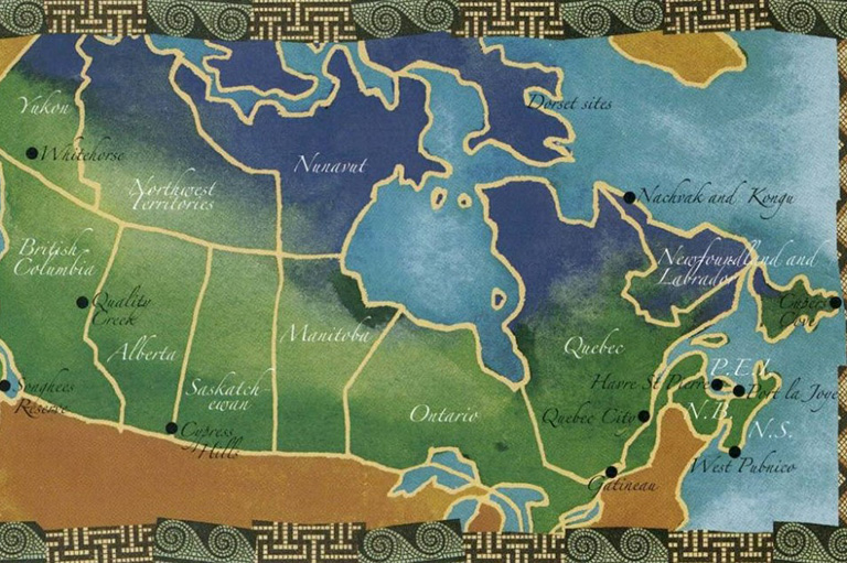 Map of Canada showing the different archaeological sites