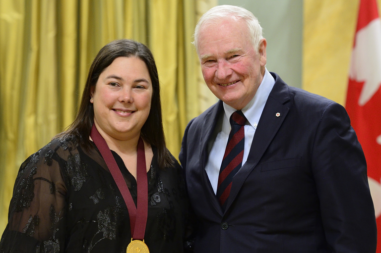 Geneviève Marois receiving her award at Rideau Hall