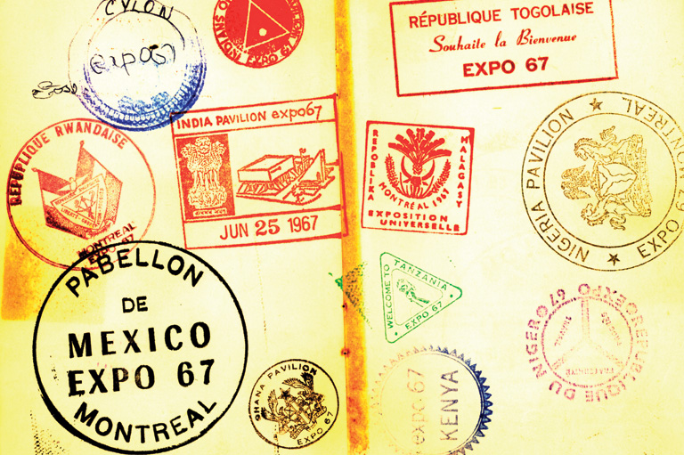 Expo 67 'passport' showing stamps from 'around the world.'