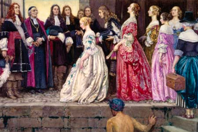 This image shows a painting of Jean Talon, Bishop François de Laval and several settlers welcoming the King's Daughters upon their arrival in New France. Painting is by Eleanor Fortescue-Brickdale.