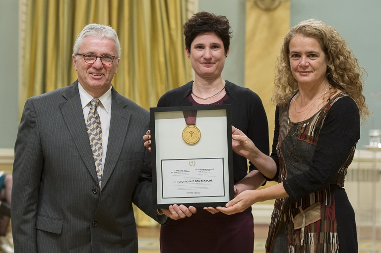 Julie Payette poses with Michel Harnois and Marie-Eve Gingras