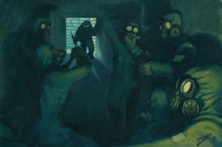 A group of people wearing gas masks in a dark room.