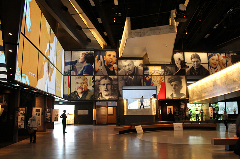 This image shows the Canada's Journey Gallery in the Canadian Museum for Human Rights.