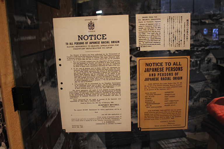 This image shows notices that were left on the doors of Japanese-Canadians during the Second World War.