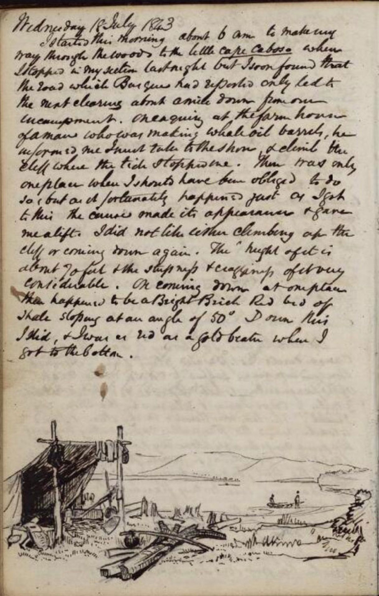 Script written on a page with a sketch