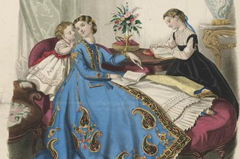 Colour painting depicts woman reclining with two well-behaved children at her side.