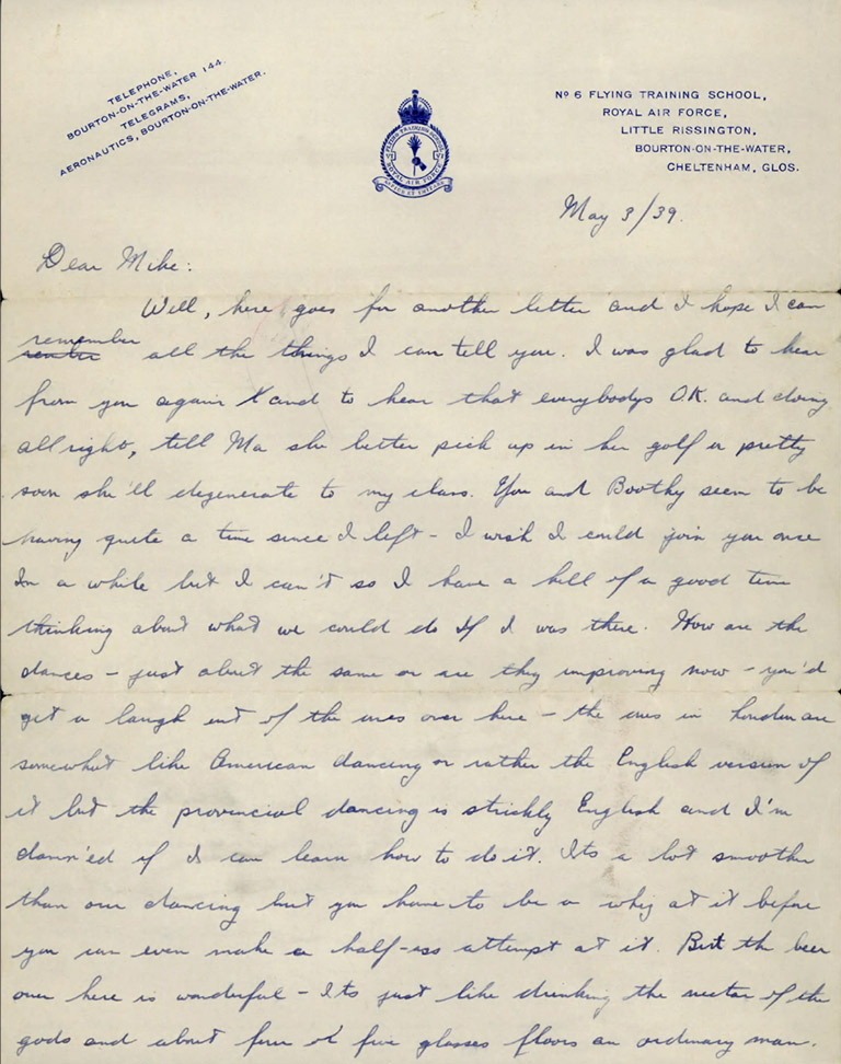 This image shows the first page of a handwritten letter.