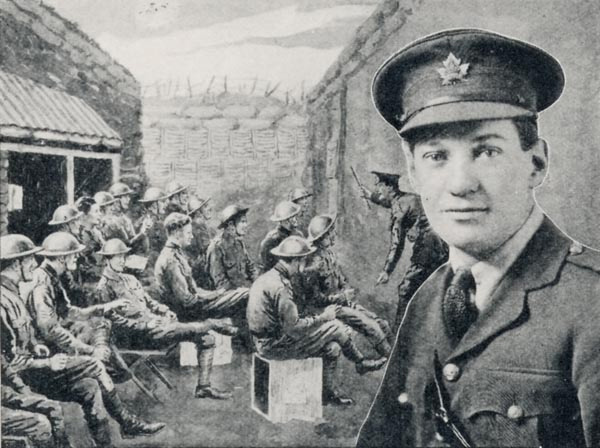 Image of Lt. Rice is presented in the forefront, with a sketch of military musicians as a backdrop.