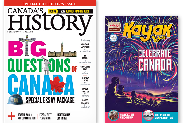 Covers of the June-July issue of Canada's History and the special issue of Kayak for Canada Day.