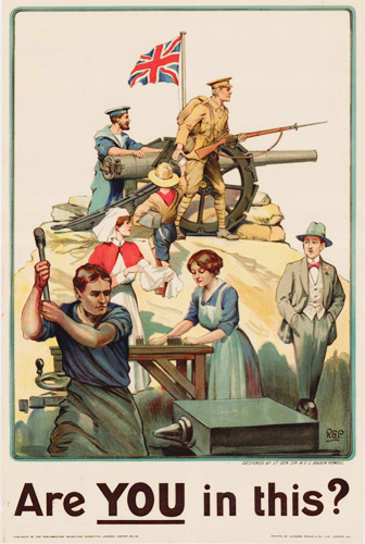 Colour illustration shows man walking by all types of people who support the war effort such as nurses, munitions workers, and soldiers.