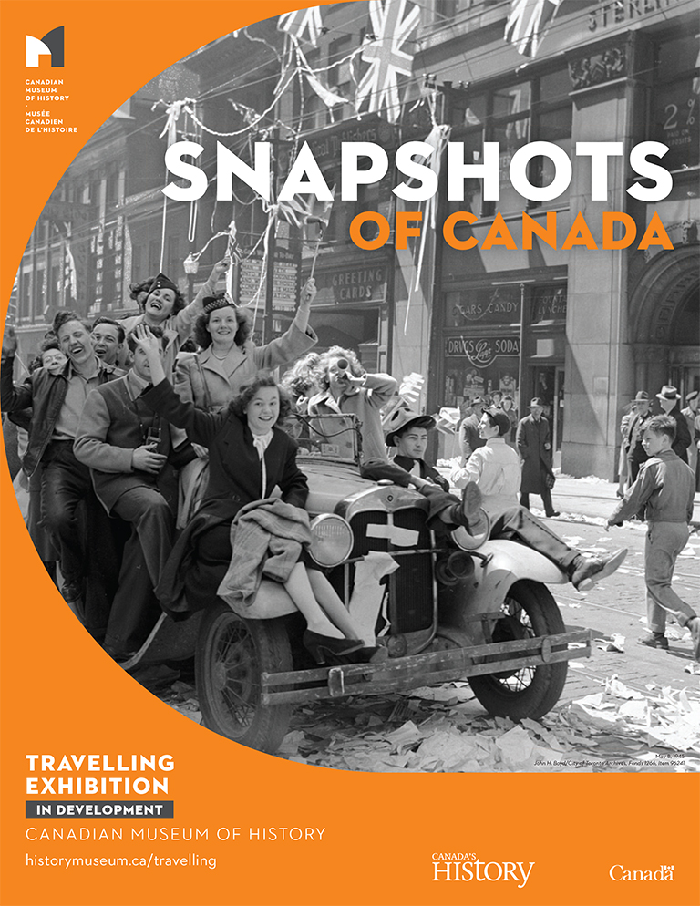 "This image shows a historic photograph with the exhibit title ""Snapshots of Canada."""