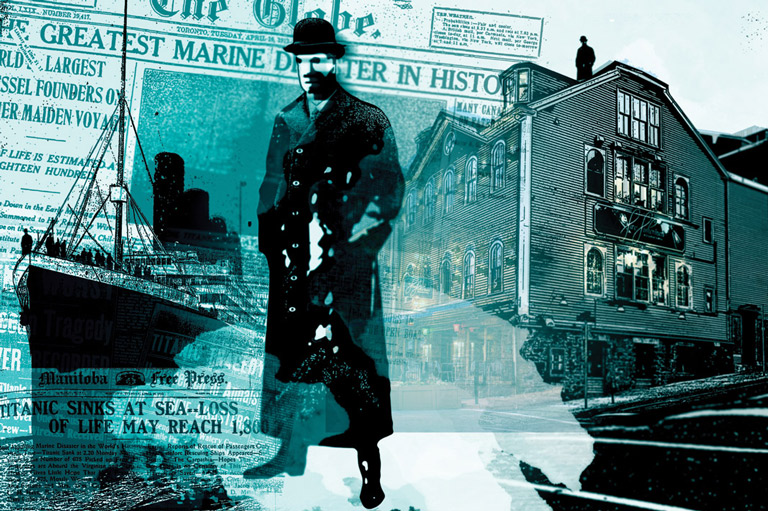 Artwork depicting a collage related to the sinking of the Titanic including the ship, a newspaper, a man in a trench coat, and a restaurant exterior.