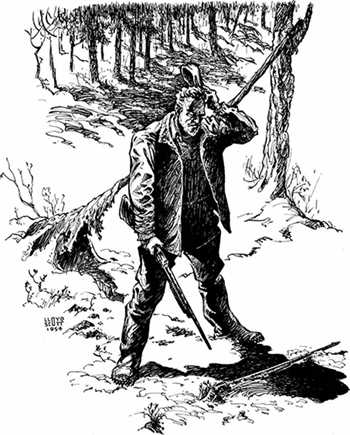 Illustration of a man in the woods holding a rifle.