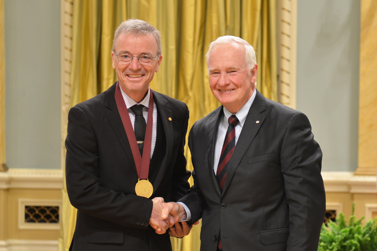Yoland Bouchard accepting his award at Rideau Hall, Ottawa, 2015.