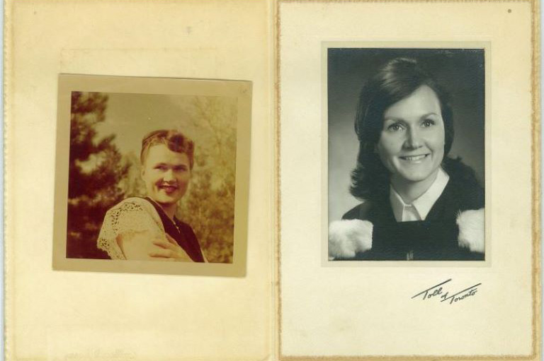 Photographs of Svetlana Gouzenko in 1948 (left) and Evy Wilson, her daughter, in 1970 (right) - both at the age of 24.