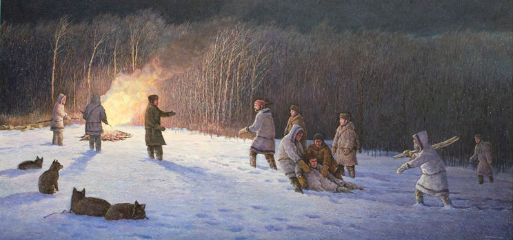 People standing by a fire, snow covers the ground, forest in the background.