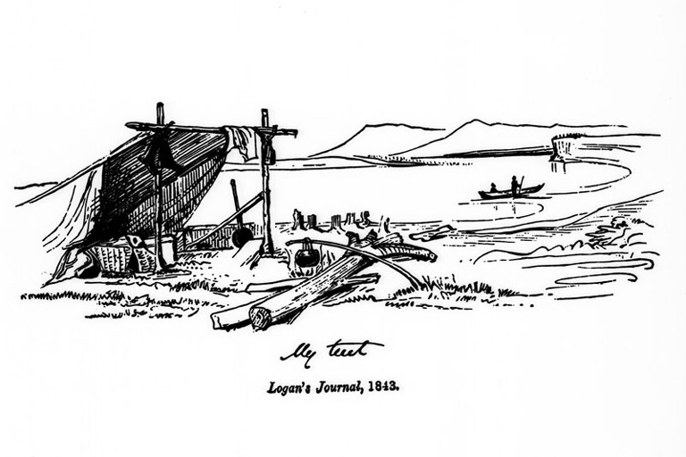 A sketch of an open tent near the coast.