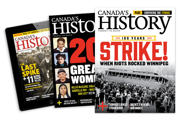 Covers of Canada's History in print and on mobile device